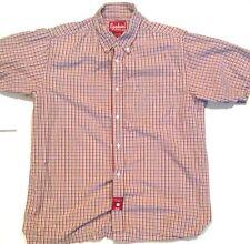 Mens EZEKIEL Short Sleeve Button Shirt, Sz M, Red And Black, Style 7015