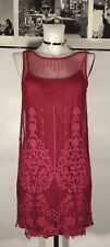 Intimately Free People Maroon Wine Red Sleeveless Floral Lace Mesh Dress Size XS