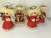 Vintage Blond Choir Angels Christmas Ornament Decoration Styrofoam Taiwan R.O.C.