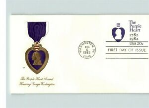 The PURPLE HEART Military Award, 2 Different First Day of Issue, 1982