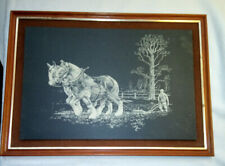 Wood Framed Picture Etched Natural Slate Wall Hanging Shire Horses, Plough, Farm
