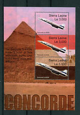 Sierra Leone 2003 MNH Concorde Over Egypt 3v M/S Pyramids Airplanes Jet Stamps