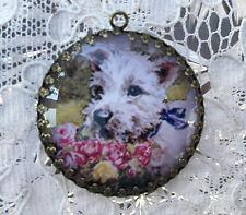 WESTIE WITH FLOWER BASKET ~ XL ROUND 35mm PENDANT Filigree  VINTAGE TERRIER Dog