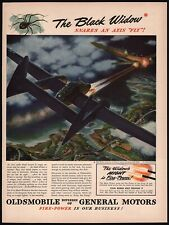 Vintage magazine ad Oldsmobile General Motors from 1944 Black Widow P-61 plane