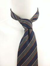 CANALI Silk Gray Blue Orange Diagonal Striped Gentlemen's Cravat Tie
