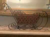 "BIG 24"" CHRISTMAS METAL SLEIGH W/86 FACETED RED CRYSTAL TEARDROPS ~ GORGEOUS NEW"