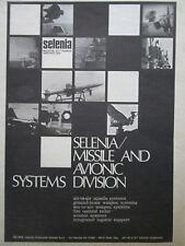 6/1974 PUB SELENIA MISSILE SYSTEMS ASPIDE AVIONIC FIRE CONTROL RADAR ORIGINAL AD
