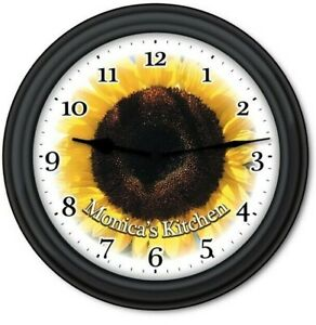 Personalized Sunflower WALL CLOCK - Flower Garden Kitchen Country Decor - GIFT
