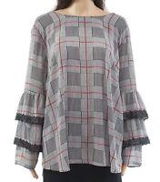 Alfani Womens Blouse Black Size 2X Plus Ruffle-Tier Sleeve Plaid Lace $99 087