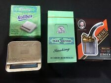 Stainless Automatic Tobacco Roller + Box of Cigarette Rolling Papers + Free Pipe
