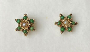 Vintage 9ct Yellow Gold 375 Pearl & Emerald Jade Earrings Studs