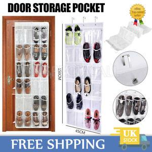 24 Pockets Hanging Shoe Storage Box Over Door Rack Hanger Tidy Closet Organizer