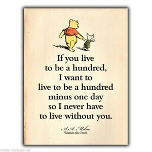METAL SIGN WALL PLAQUE Winnie the Pooh A. A. Milne Quote print Childrens a5