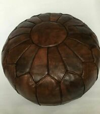 Genuine Leather Foot stool Pouf Ottoman Hassock Moroccan Brown