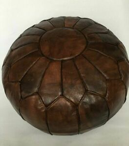 Genuine Leather Foot stool Pouf Ottoman Hassock Moroccan Brown CHRISTMAS PRESENT