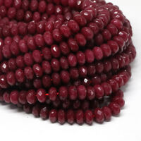 diy 5x8mm Natural Faceted Brazil Red Ruby Gemstone Rondelle Loose Beads 15""