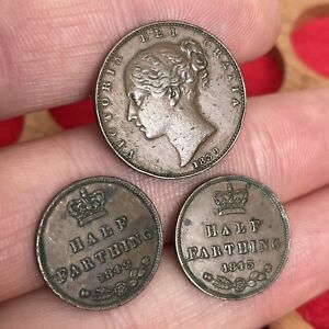 Great Britain. Victoria, Farthing 1839, Half Farthing 1842, 1843. (3 Coins)