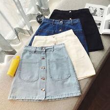 A Line Front Button Skirt Flare Short Mini High Waist Vintage Blue/Black/White