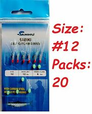 20 Packs size #12 sabiki bait rigs 6 RED hooks offshore saltwater lures