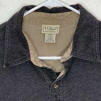 LL Bean Mens Flannel Shirt LS Brown Herringbone Large