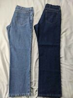 2 Vintage Lee MR Pocket Tag Denim Light & Dark Wash Jeans 36x30 EUC YKK Zipper