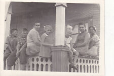 1950s Mothers with children on veranda girls boys women old Russian Soviet photo