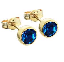 Paar Ohrstecker Gold 333er 5,50mm dunkelblau Zirkonia Ohrringen Kinder M71