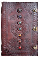 Seven Chakra Medieval Stone Embossed Handmade Leather Journal Diary 22 x 14 Inch