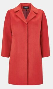 karen millen Red Wool Blend Coat Uk Size 8 Eu Size 36 Rrp £280.00