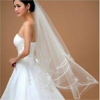 Long bridal wedding Veil White Ivory 1.5m elbow Lace Edge Free Shipping
