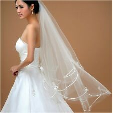 Long bridal wedding Veil White Ivory 1.5m elbow Lace Edge Free Shipping