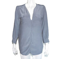 JOIE Casual Chic! Blue Pixel Polkadot Silk Blouse Long Sleeve Top size XS /9924