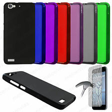 Funda carcasa + CRISTAL TEMPLADO HUAWEI P8 LITE SMART Gel TPU Lisa Mate Colores