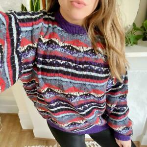 Vintage 90s Super Oversized Colourful Cosy Knit Indie Jumper Sweater Size XL