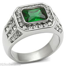 9X7 mm 3.2 Ct. 316 Stainless Steel May Green Emerald Birthstone Men Ring Size 10