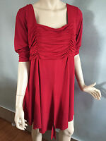 BNWT Womens Sz 20 Autograph Brand Ruby Red Half Sleeve Gathered Tunic Top RRP$60
