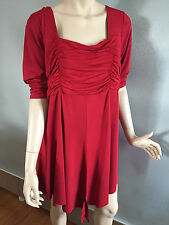 BNWT Womens Sz 24 Autograph Brand Ruby Red Half Sleeve Gathered Tunic Top RRP$60