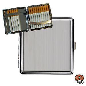 Atomic Metall Zigarettenetui mit Clip, Gebürsteter Edelstahl / Chrom, Box / Etui