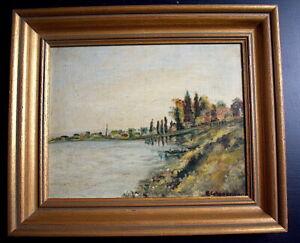 Landschaft Marine Fluss Belebt Boot Impressionist Unterzeichnet Eiglsperger Xx