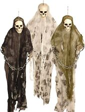 85 Cm Hanging Skeleton Skull Shroud & Chains Halloween Ghoul Decoration Prop