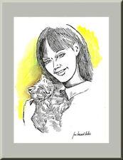 JEUNE FILLE ET SON CHAT, dessin original de Jean Bernard Auboin