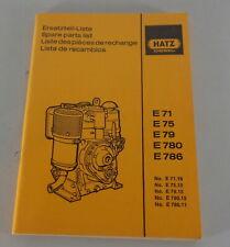 Teilekatalog / Parts list Hatz Dieselmotor E71 E75 E79 E780 E786 von 2/1990