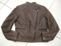 Ladies NEXT brown real leather JACKET COAT size UK 12 biker bomber cafe racer