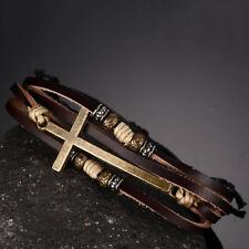 Retro Faux Leather Cross Bracelet Women Men Jewelry Adjustable Rope Chain Little