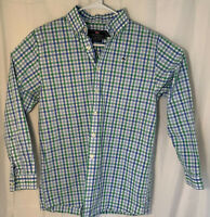 Vineyard Vines Boys L Whale Shirt Blue Green Plaid Button Down Long Sleeve