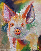 "Pig 8""x10"" Limited Edition Oil Painting Print Signed Art by Artist Home Decor"