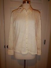 MSRP $78 NEW PL Talbots Ivory Lace Lined LS Cuffed Petite Large Blouse NWT