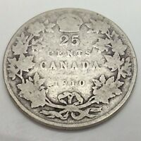 1910 Canada 25 Twenty Five Cents Quarter Canadian Circulated Coin D997