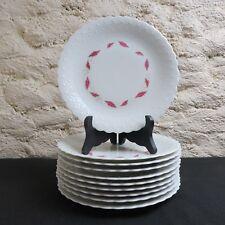 f77bbd3d90 10 assiettes à dessert en porcelaine de limoges G boyer décor doré et rose