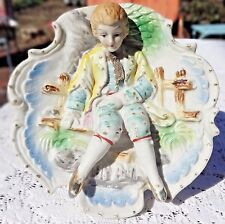 VINTAGE 1950's HAND PAINTED BISQUE PORCELAIN COLONIAL BOY WALL HANGING - JAPAN